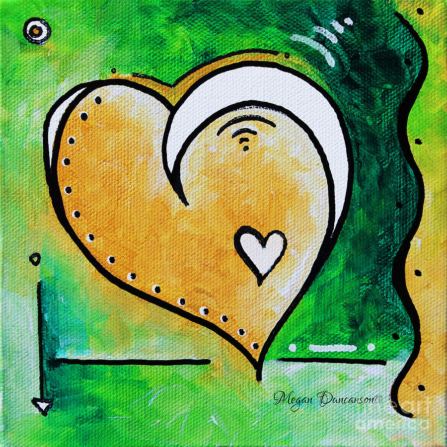 Green Yellow Heart Love Painting Pop Art Peace By Megan Duncanson Painting