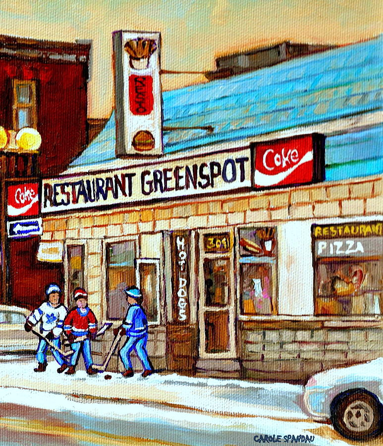 Greenspot Restaurant Notre Dame Street  South West Montreal Paintings Winter Hockey Scenes St. Henri Painting  - Greenspot Restaurant Notre Dame Street  South West Montreal Paintings Winter Hockey Scenes St. Henri Fine Art Print