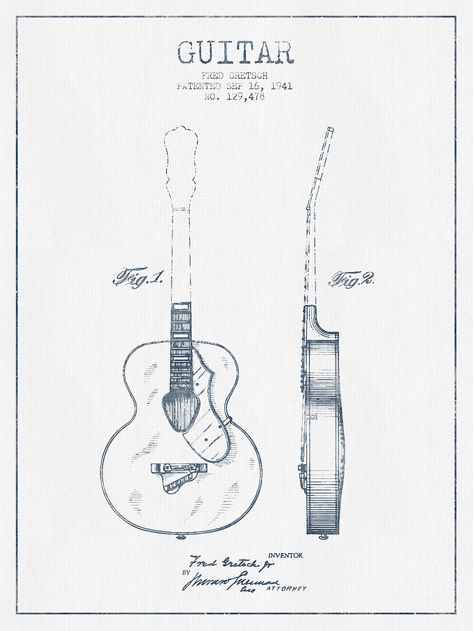 Guitar Patent Drawing - Gretsch Guitar Patent Drawing From 1941 - Blue Ink by Aged Pixel