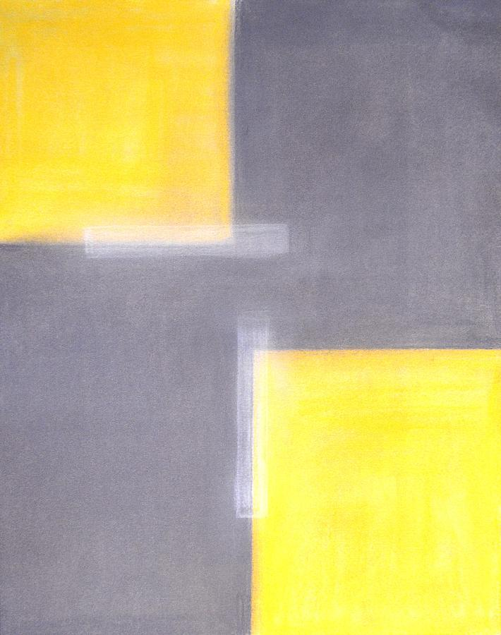 Dilapidated Grey And Yellow Abstract Art Painting