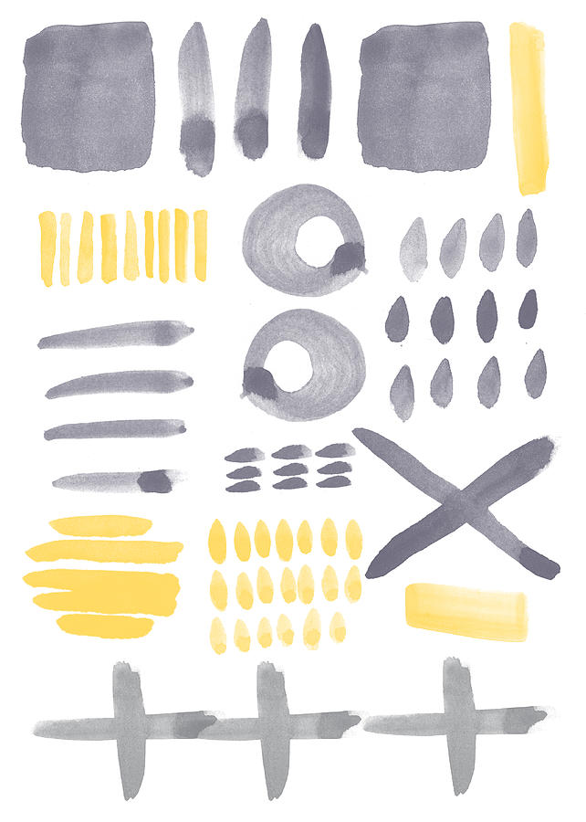 Grey And Yellow Shapes- Abstract Painting Painting
