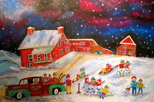 Winter Memories Painting - Grey Fox Farm Winter by Michael Litvack