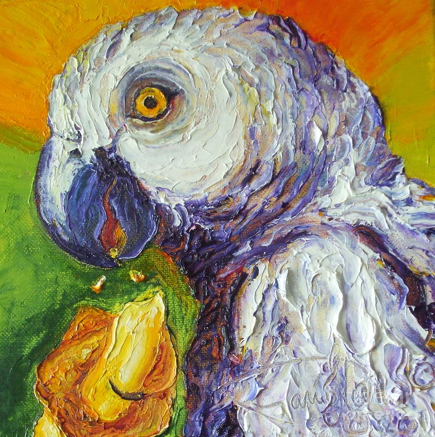 Grey Parrot And Juicy Mango Painting