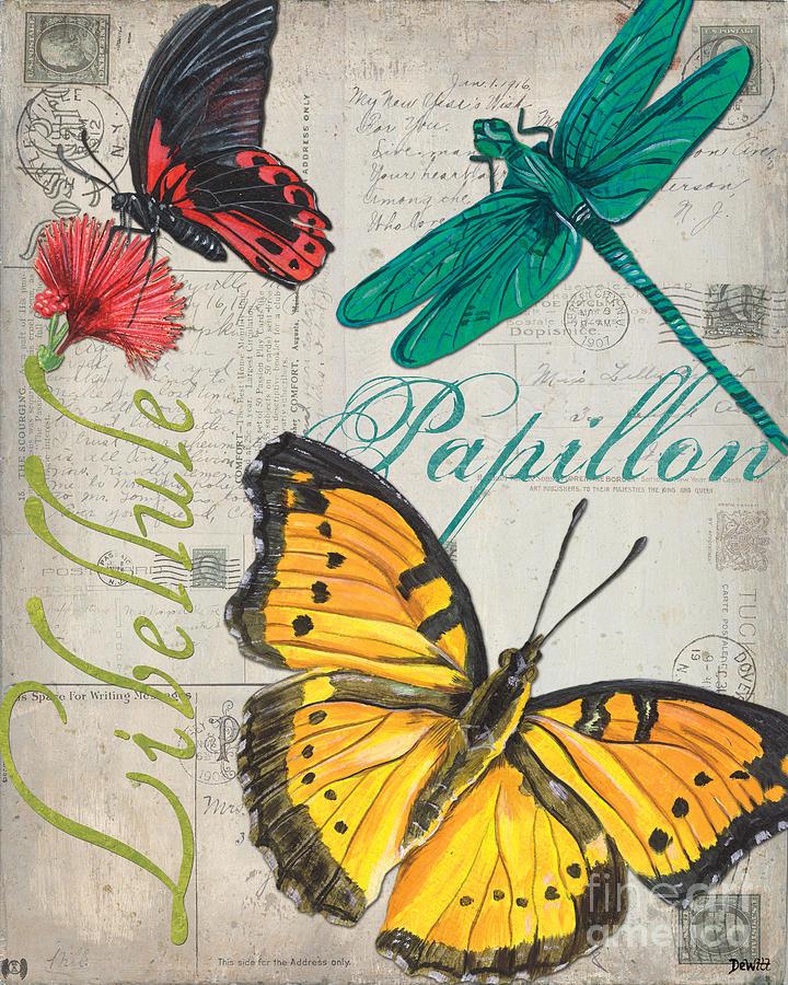 Butterfly Painting - Grey Postcard Butterflies 3 by Debbie DeWitt