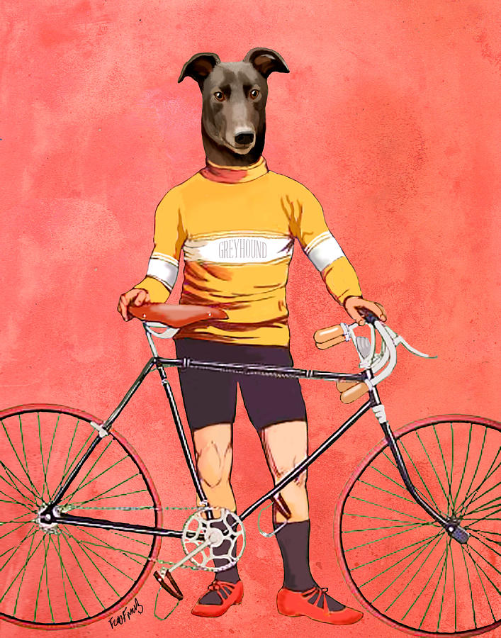 Greyhound Cyclist Digital Art