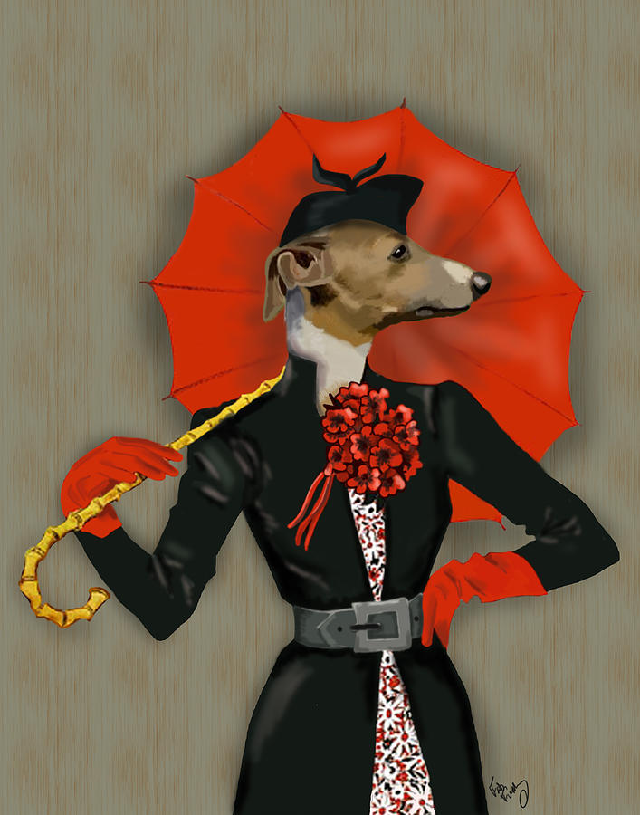 Dog Framed Prints Digital Art - Greyhound Elegant Red Umbrella by Kelly McLaughlan