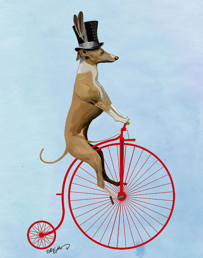 Greyhound Pennyfarthing Red Digital Art  - Greyhound Pennyfarthing Red Fine Art Print