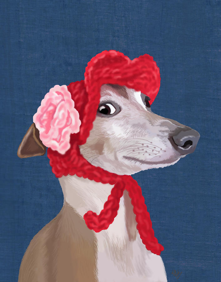 Greyhound Red Knitted Hat Digital Art
