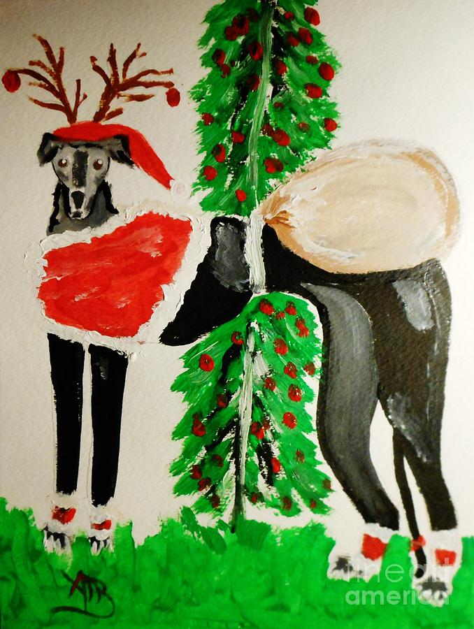 Greyhound Santa Painting