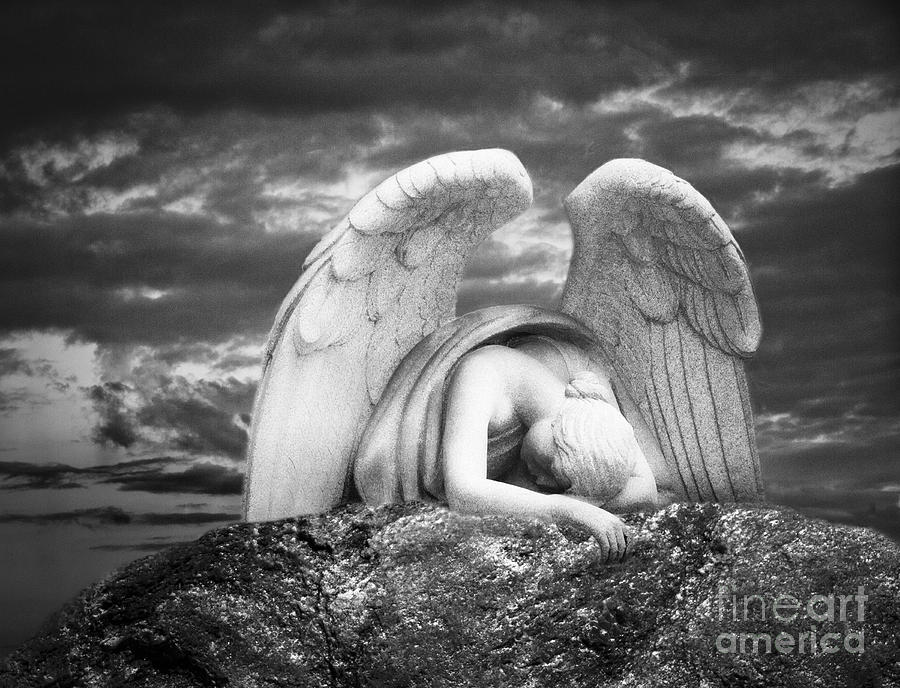 Grieving Angel Digital Art  - Grieving Angel Fine Art Print