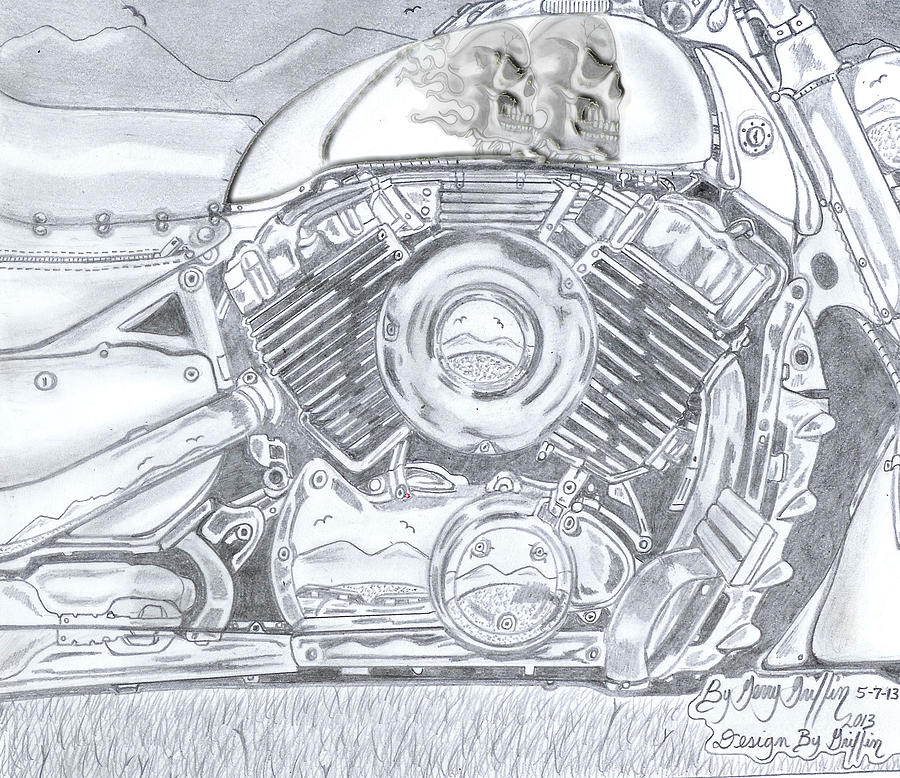 Drawing - Griffins Custom Bikes by Gerald Griffin
