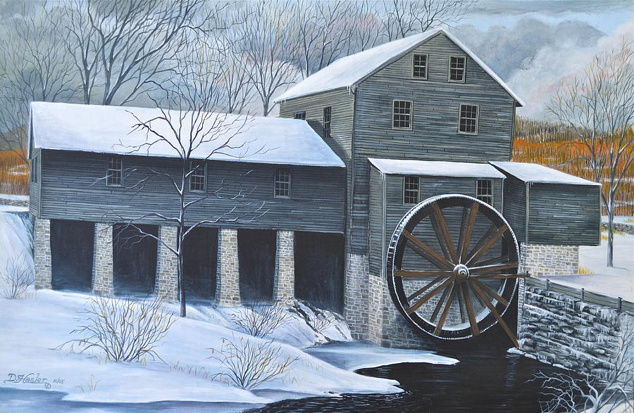Grist Mill In Winter Painting