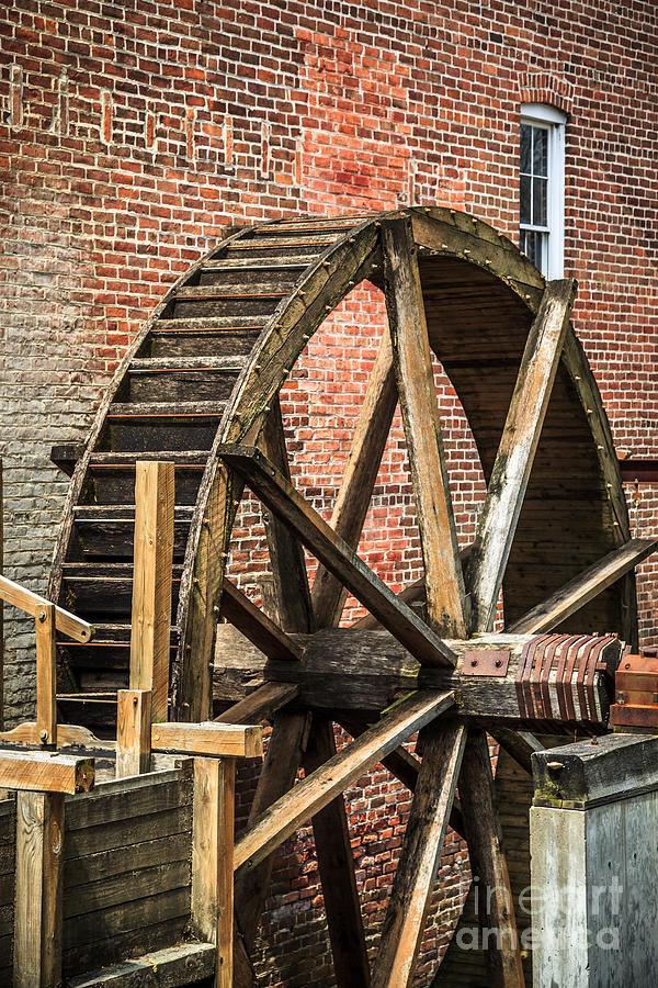 Grist Mill Water Wheel In Hobart Indiana Photograph  - Grist Mill Water Wheel In Hobart Indiana Fine Art Print