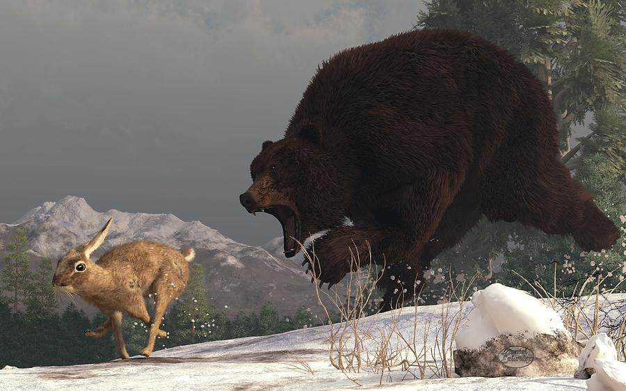 Grizzly Bear Chasing Rabbit Digital Art by Daniel Eskridge