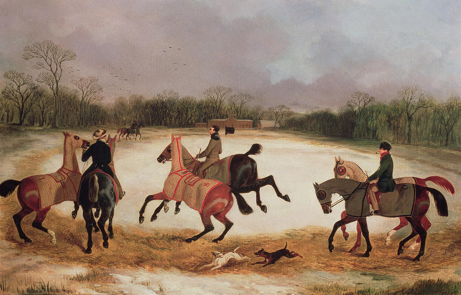 Grooms Exercising Racehorses  Painting