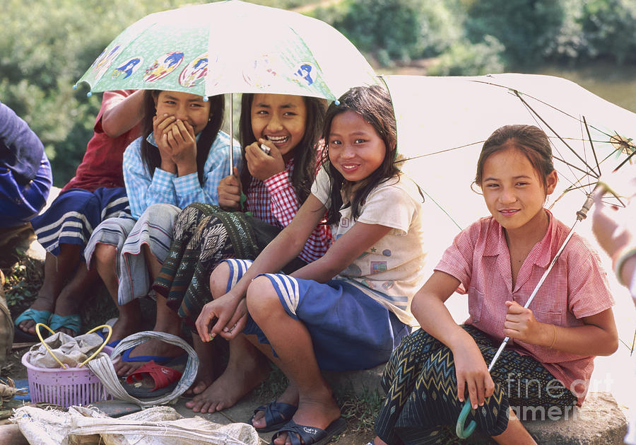 group of Laos girls  Photograph  - group of Laos girls  Fine Art Print