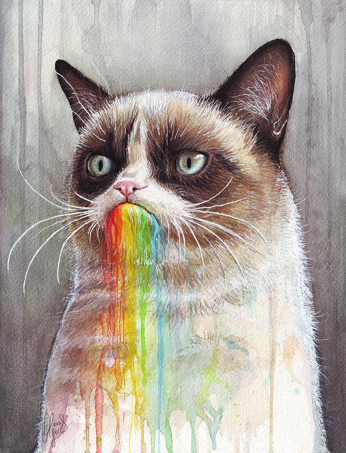 Grumpy Cat Tastes The Rainbow Painting
