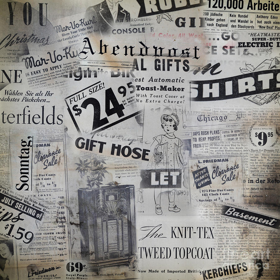 Grunge background with old magazines from 1938 by yaromir for Old magazines