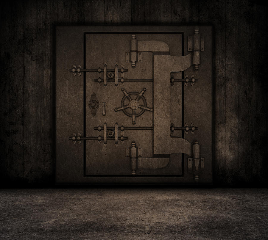 Grunge Interior With Bank Vault Digital Art
