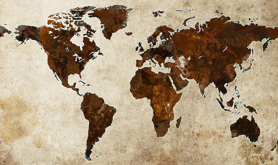 Grunge World Map Digital Art  - Grunge World Map Fine Art Print