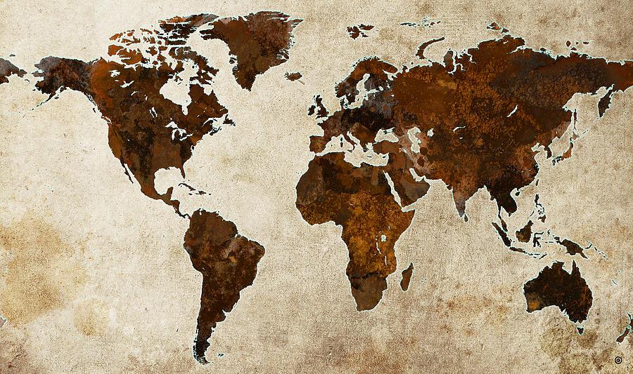 Grunge World Map Digital Art