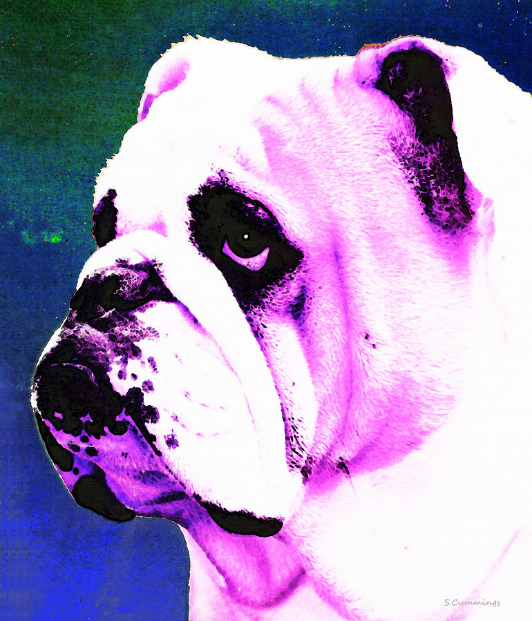 Grunt - Bulldog Pop Art By Sharon Cummings Painting  - Grunt - Bulldog Pop Art By Sharon Cummings Fine Art Print