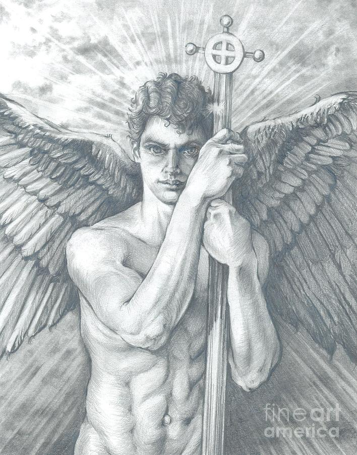 Guardian Angel Watching Drawing by Karina Griffiths