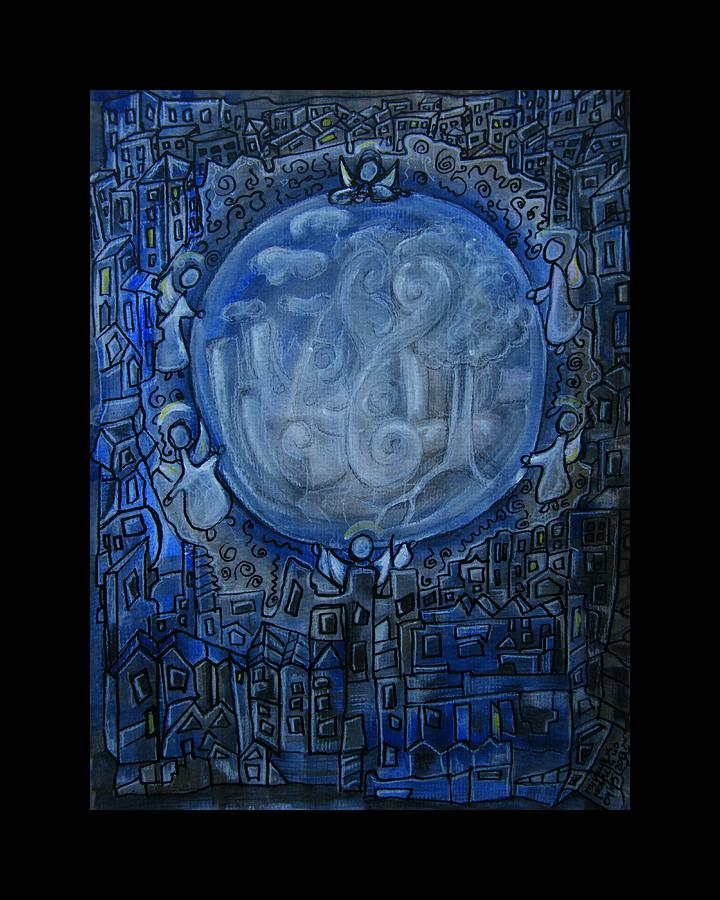 Dream Dreams Dreaming Angels Guardian Keeper Symbolism Traum Engel Symbolik Waechter Beschuetzer Blue Blau Painting - Guardians Of Dreams - Traumwaechter by Mimulux patricia no