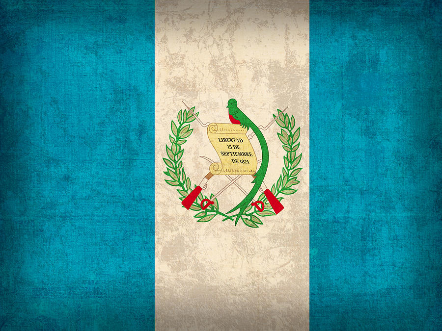 Guatemala Flag Vintage Distressed Finish Mixed Media
