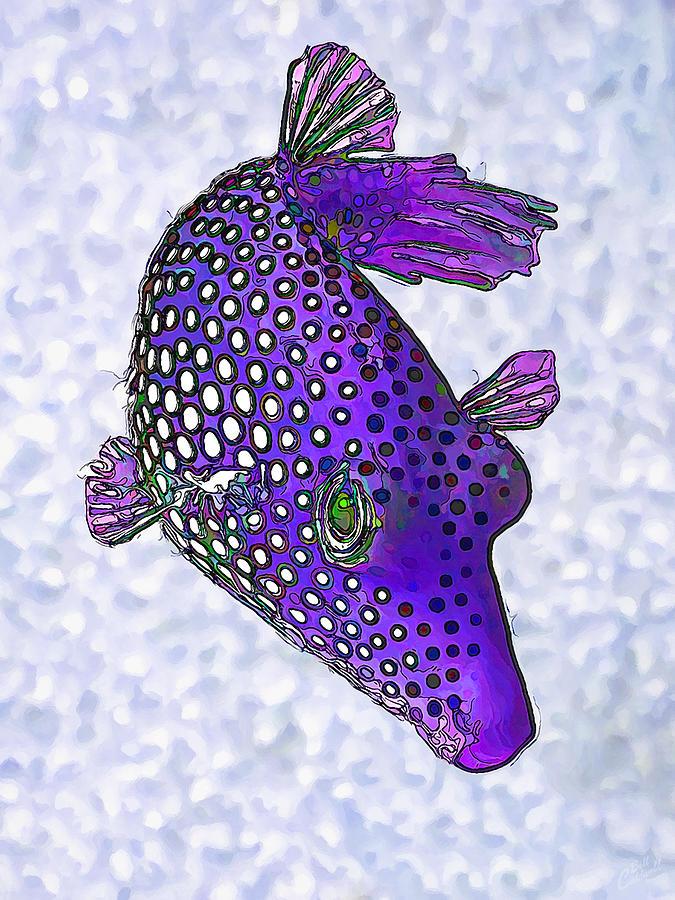 Guinea Fowl Puffer Fish In Purple Digital Art