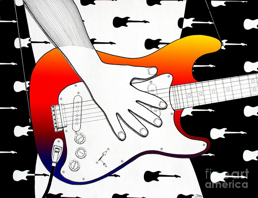 Guitar 1 Drawing  - Guitar 1 Fine Art Print
