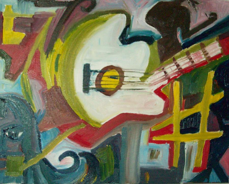 Guitar Painting - Guitar Muse In C Sharp by James Christiansen