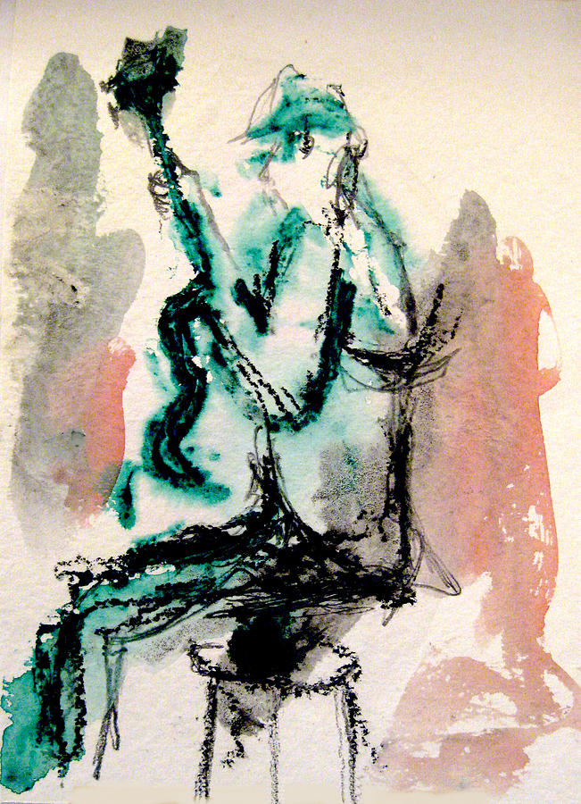 Drawing Painting - Guitar Player Seated by James Gallagher