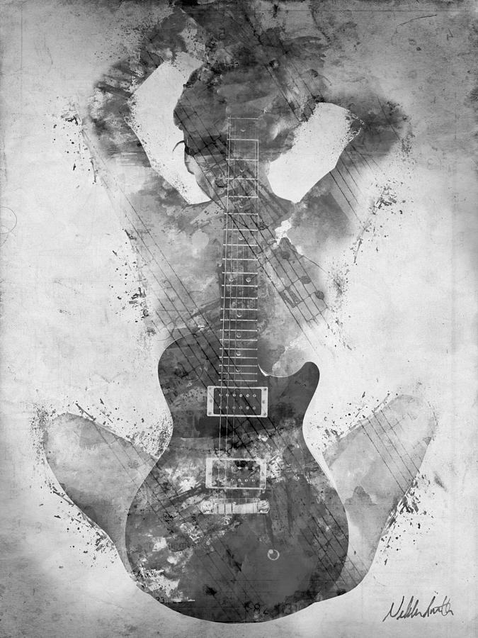 Guitar Siren In Black And White Digital Art  - Guitar Siren In Black And White Fine Art Print