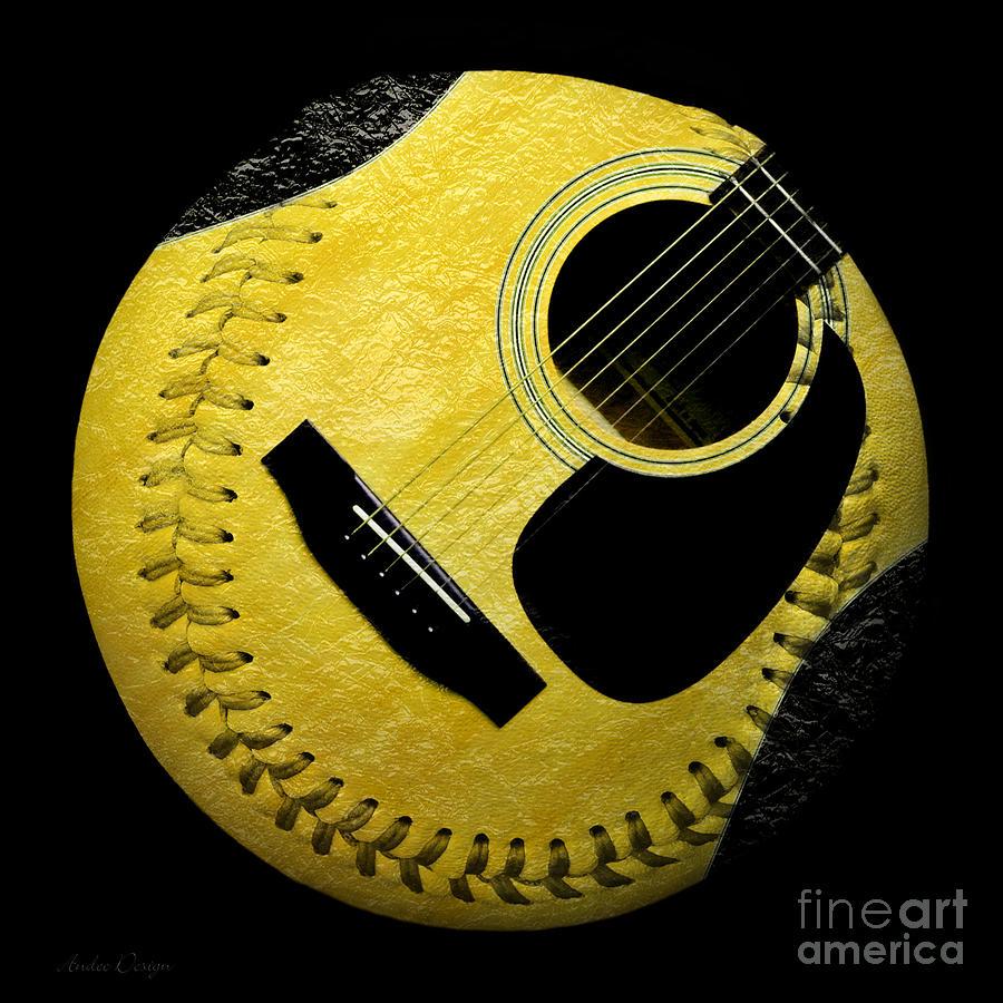Baseball Digital Art - Guitar Yellow Baseball Square by Andee Design