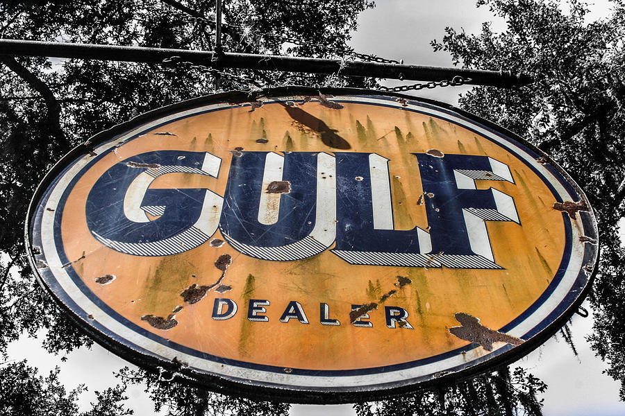 Sign Photograph - Gulf Dealer Sign by Steven  Taylor