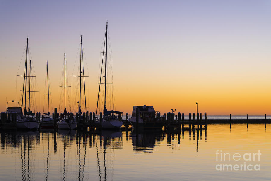 Scenery Photograph - Gulf Of Mexico Sailboats At Sunrise by Andre Babiak