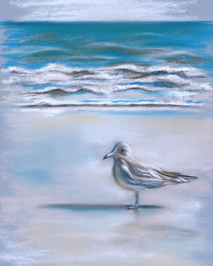 Gull On The Shore Pastel  - Gull On The Shore Fine Art Print