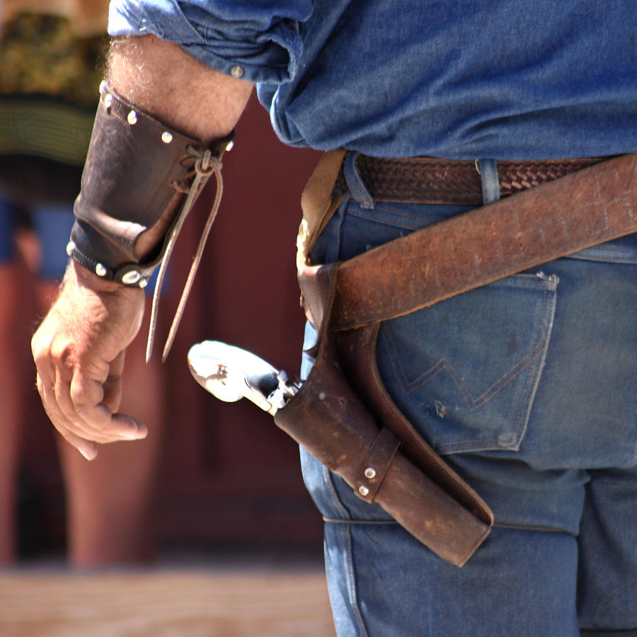 Western Photograph - Gunfighter In Blue by Art Block Collections