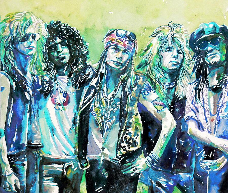 Guns N Roses - Band Watercolor Portrait Painting