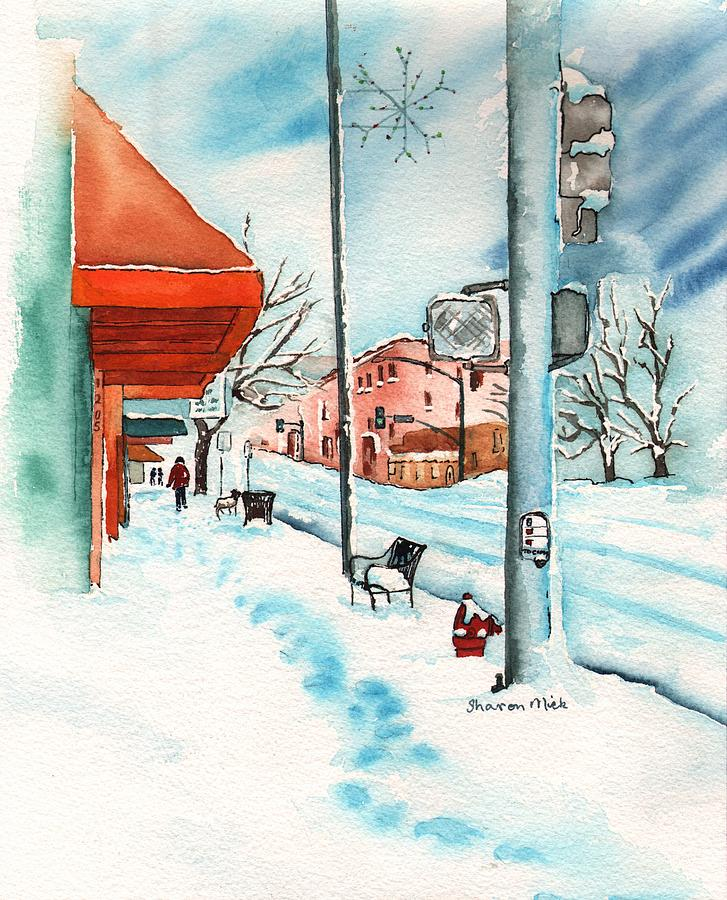 Gurley Street Prescott Arizona On A Cold Winters Day Western Town Painting  - Gurley Street Prescott Arizona On A Cold Winters Day Western Town Fine Art Print