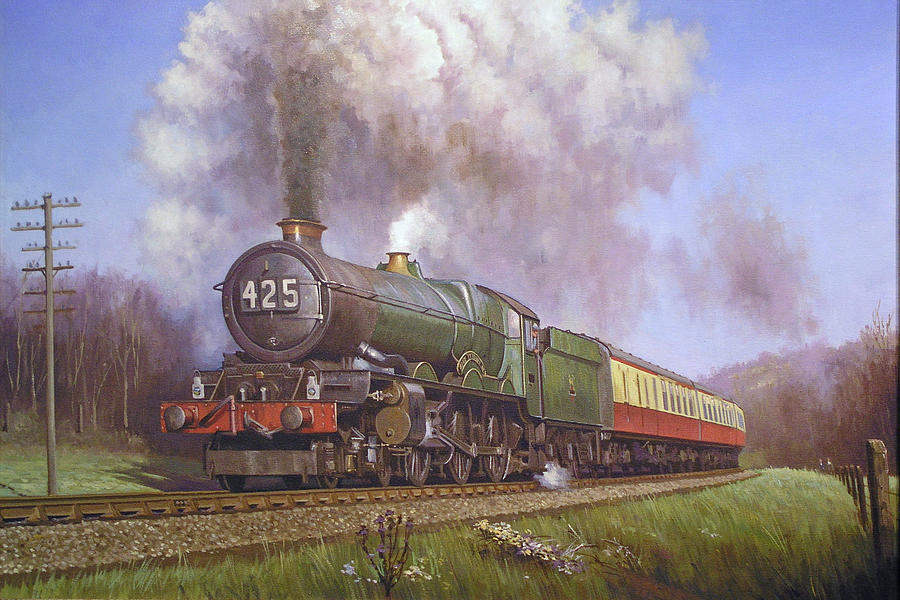 Gwr King Class On Dainton Bank. Painting