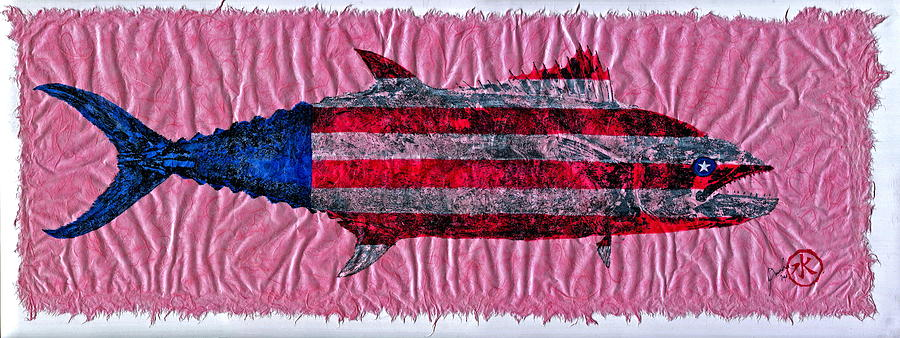 Gyotaku - American Spanish Mackerel - Flag Mixed Media