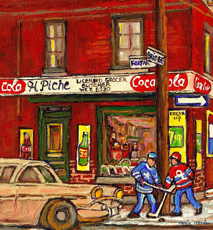 Piche's Corner Grocery Store Painting - H. Piche Grocery - Goosevillage -paintings Of Montreal History- Neighborhood Boys Play Street Hockey by Carole Spandau