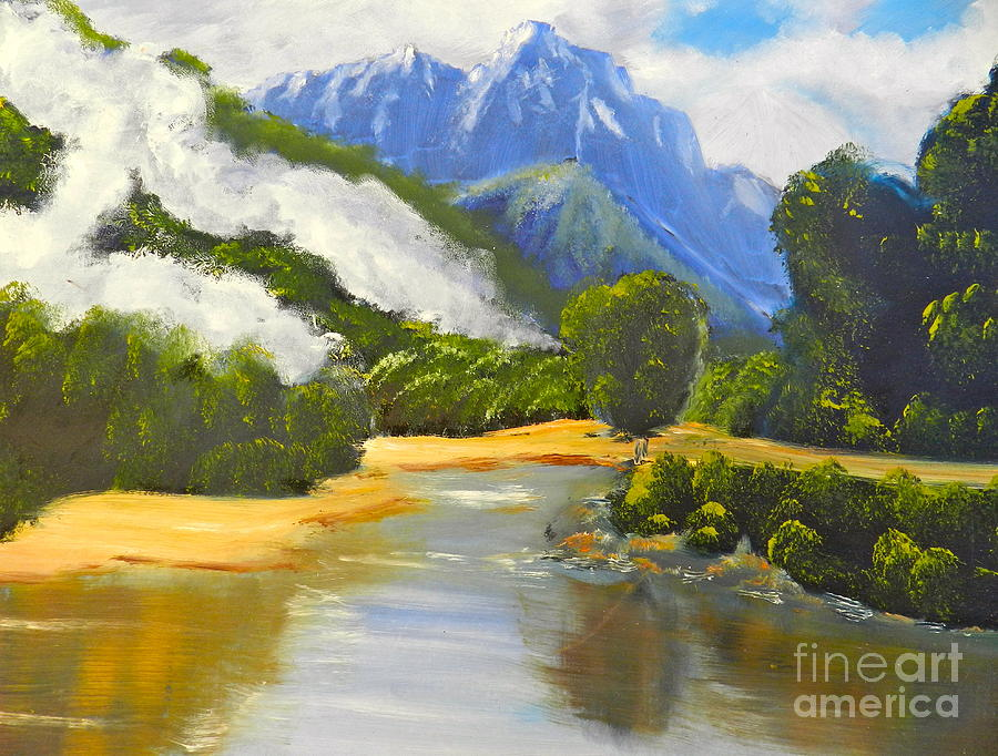 Haast River New Zealand Painting  - Haast River New Zealand Fine Art Print