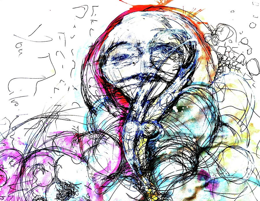Pen And Ink Painting - Habit by Mark M  Mellon
