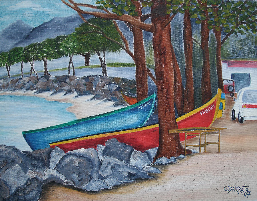 This Is The Old Road By The Ocean That Takes People To A Park In Aguadilla Painting - Hacia Parque De Colon by Gloria E Barreto-Rodriguez