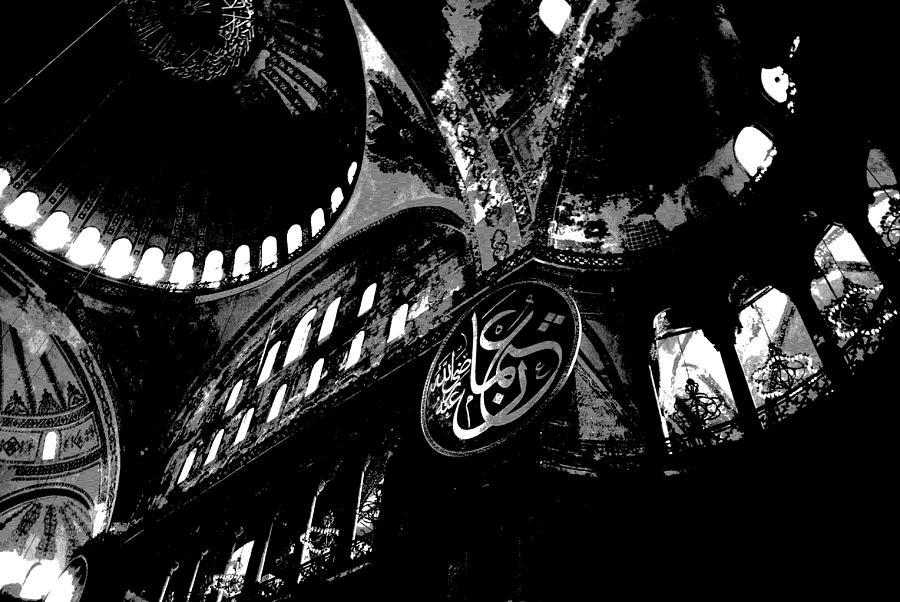Hagia Sophia Museum Ceiling High Contrast Photograph
