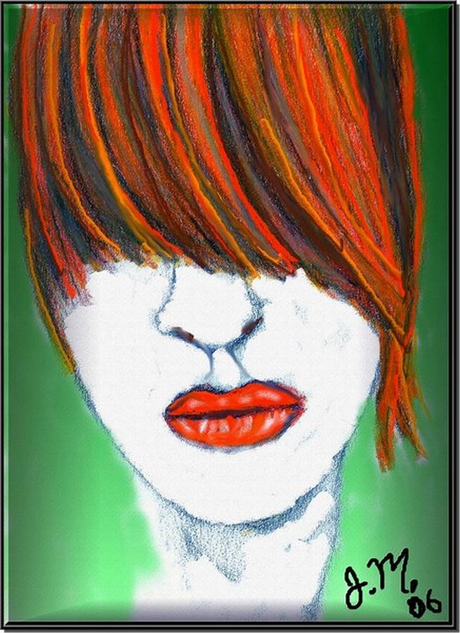 Hair And Lips Drawing  - Hair And Lips Fine Art Print