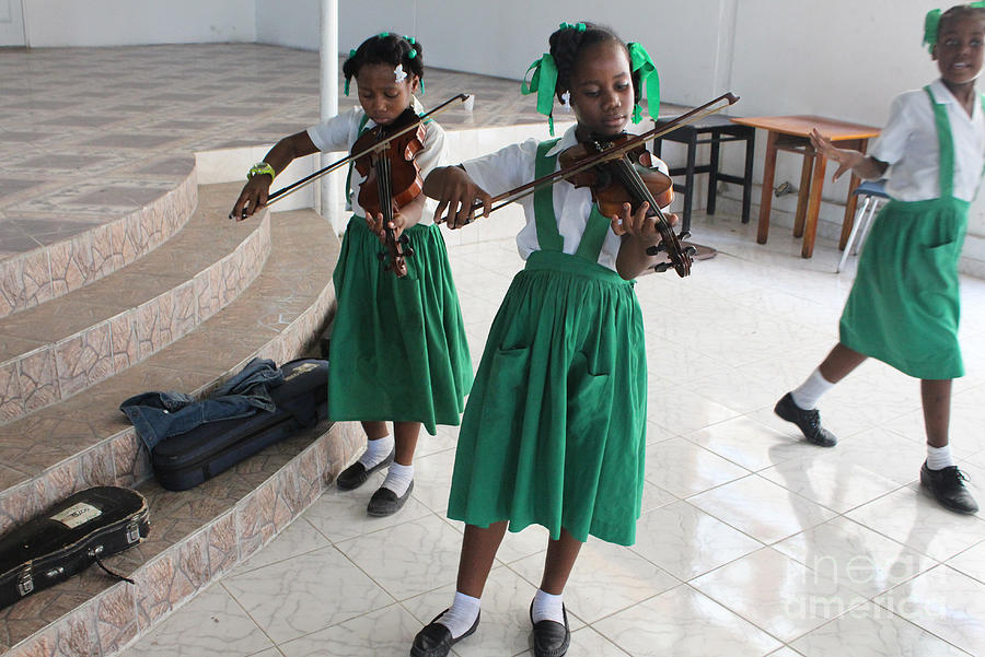 Haitian Girls Play Violins Photograph  - Haitian Girls Play Violins Fine Art Print